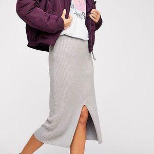 Free people grey midi skirt